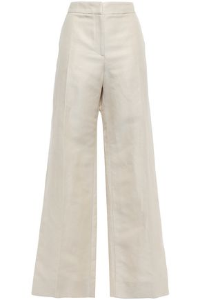 OSCAR DE LA RENTA Linen-blend twill wide-leg pants