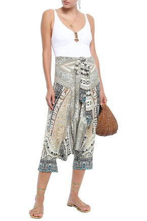 Camilla Pants CAMILLA WOMAN CROPPED EMBELLISHED PRINTED SILK CREPE DE CHINE TAPERED PANTS CREAM