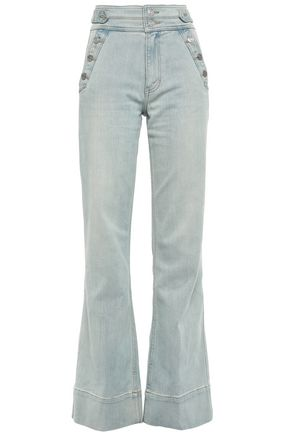 CURRENT/ELLIOTT Button-detailed high-rise flared jeans