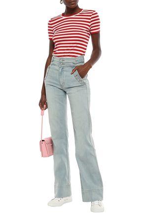 Current Elliott Current/Elliott Woman Button-Detailed High-Rise Flared Jeans Light Denim