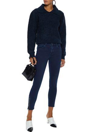 J Brand Woman 835 Cropped Mid-Rise Skinny Jeans Dark Denim