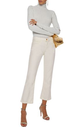 J Brand Woman Selena Metallic Mid-Rise Kick-Flare Jeans Ivory