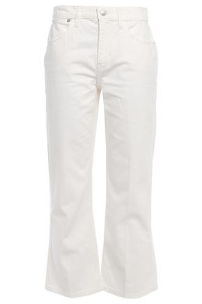 CURRENT/ELLIOTT The Donna cropped distressed straight-leg jeans