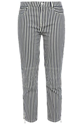 CURRENT/ELLIOTT Cropped striped mid-rise slim-leg jeans