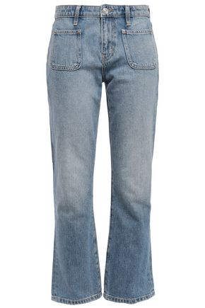 CURRENT/ELLIOTT Cropped faded mid-rise bootcut jeans
