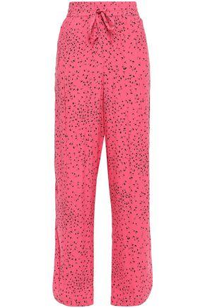 GANNI Barra printed crepe wide-leg pants
