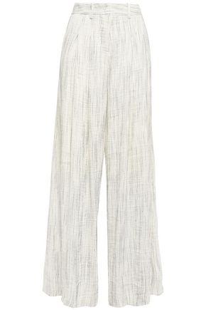 ANNA QUAN Sloane striped textured linen-blend wide-leg pants