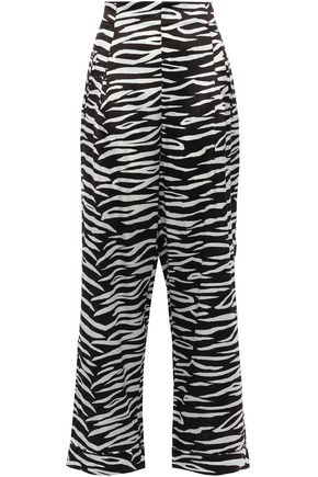 GANNI Blakeley zebra-print stretch-silk wide-leg pants