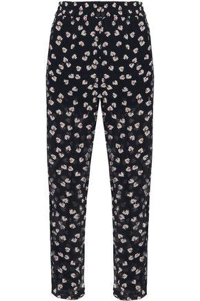 GANNI Rometty floral-print georgette straight-leg pants