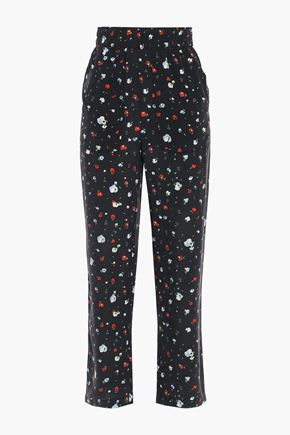 GANNI Nolana floral-print washed-silk straight-leg pants