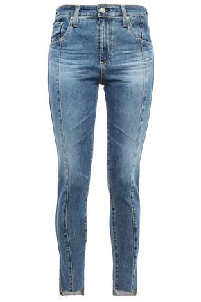 AG JEANS Cropped frayed faded high-rise skinny jeans