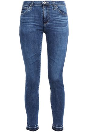 AG JEANS Cropped frayed faded low-rise skinny jeans