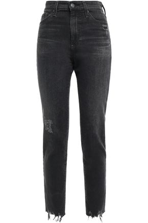 AG JEANS Cropped distressed high-rise skinny jeans