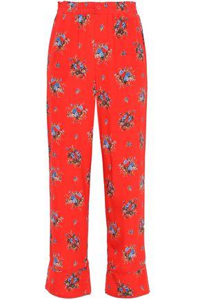 GANNI Floral-print silk crepe de chine wide-leg pants