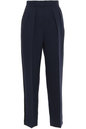 ROKSANDA Satin-trimmed pleated crepe tapered pants