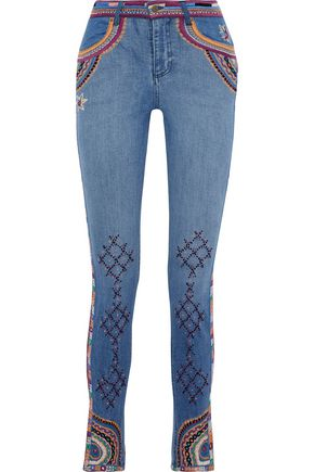 CAMILLA On My Own cropped embellished mid-rise skinny jeans