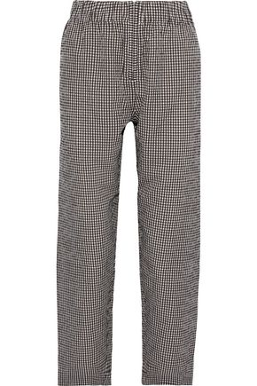GANNI Charron gingham cotton-seersucker straight-leg pants
