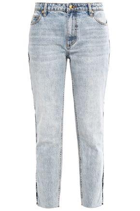 P.E NATION Driver cropped printed high-rise slim-leg jeans