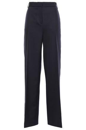 VICTORIA, VICTORIA BECKHAM Satin-trimmed wool-twill wide-leg pants