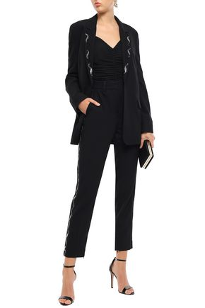 Victoria Victoria Beckham Pants VICTORIA, VICTORIA BECKHAM WOMAN CROPPED BEAD-EMBELLISHED WOOL-BLEND PIQUÉ TAPERED PANTS BLACK