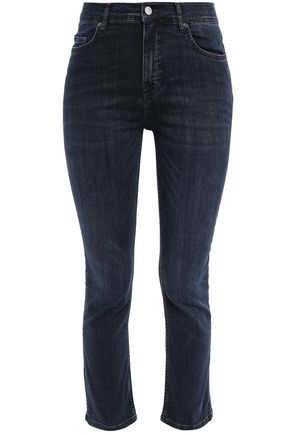 VICTORIA, VICTORIA BECKHAM Cropped faded mid-rise skinny jeans