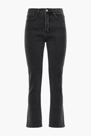 VICTORIA, VICTORIA BECKHAM Studded high-rise straight-leg pants
