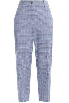 STELLA JEAN Cropped Prince of Wales checked cotton-blend straight-leg pants
