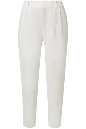VINCE. Cropped pleated linen-blend tapered pants