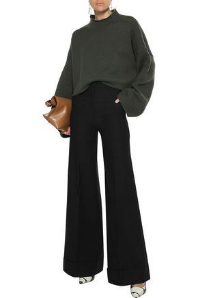 Khaite Pants KHAITE WOMAN BEATRICE COTTON-TWILL WIDE-LEG PANTS BLACK