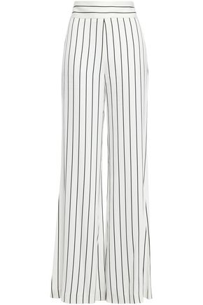GALVAN  London Pinstriped satin-crepe wide-leg pants