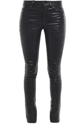 SAINT LAURENT Embroidered polka-dot coated low-rise skinny jeans