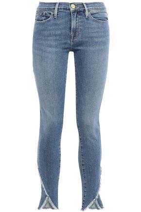 FRAME Cristallo frayed high-rise skinny jeans