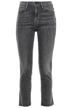 FRAME Grizzly frayed high-rise slim-leg jeans