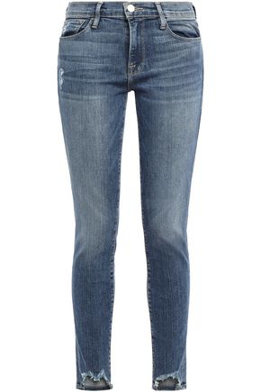FRAME Loren distressed high-rise skinny jeans
