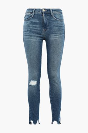 FRAME Beckinsale distressed mid-rise skinny jeans