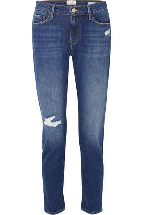 FRAME Distressed faded mid-rise straight-leg jeans