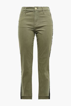 FRAME Le High Straight cropped grosgrain-trimmed high-rise straight-leg jeans