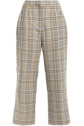 CLAUDIE PIERLOT Pattern cropped checked woven wide-leg pants