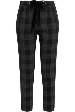 CLAUDIE PIERLOT Velvet-trimmed checked crepe slim-leg pants