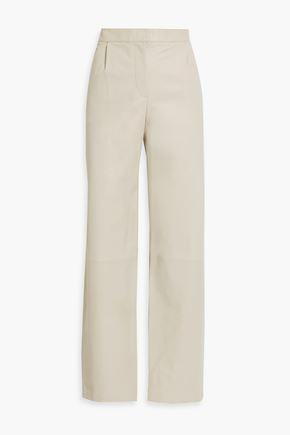 THEORY Leather straight-leg pants