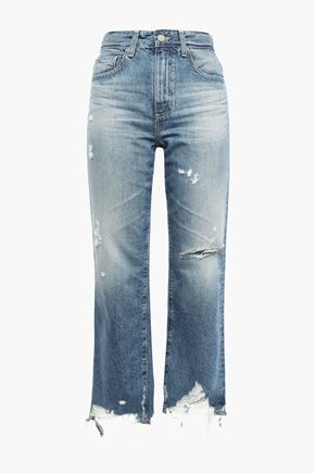 AG JEANS Cropped distressed faded high-rise straight-leg jeans