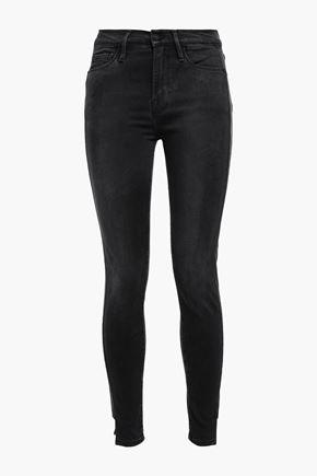 FRAME Dunlop coated cotton-blend mid-rise skinny jeans