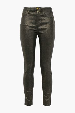 FRAME Le High Skinny cropped metallic high-rise skinny jeans
