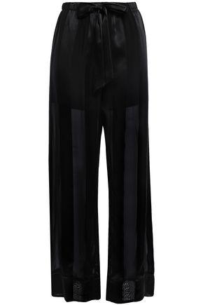 KIKI DE MONTPARNASSE Le Cou Cou striped silk-satin and chiffon pajama pants