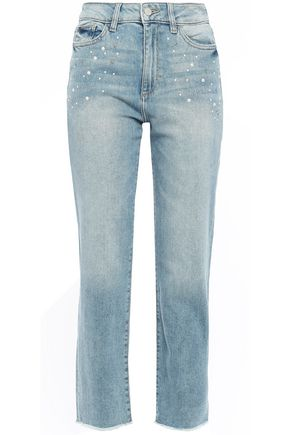 DL1961 Mara faux pearl-embellished high-rise straight-leg jeans