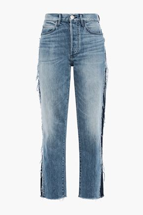3x1 Cora cropped frayed high-rise straight-leg jeans