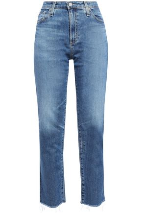 AG JEANS Cropped frayed faded high-rise straight-leg jeans
