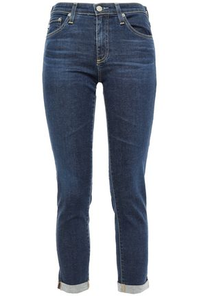 AG JEANS Cropped faded mid-rise skinny jeans