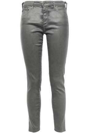 AG JEANS Cropped coated cotton-blend skinny jeans