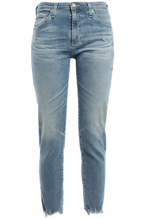 AG JEANS Cropped distressed faded mid-rise skinny jeans